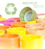 Caps of the bottle with recycle symbol Royalty Free Stock Photography