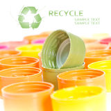 Caps of the bottle with recycle symbol Royalty Free Stock Images