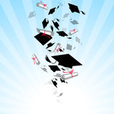 Caps Graduates Whirlwind in the Sky Stock Photos