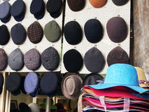Caps and Hats, Plaka, Greece Royalty Free Stock Images
