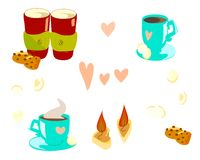 cups for valentines day stock illustration