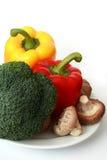 Capsico, broccolo e funghi Immagine Stock