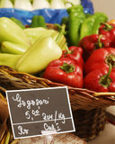 Capsicum. Close-up basket with fresh red and green capsicum Royalty Free Stock Image
