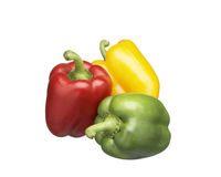Capsicum. Red green yellow capsicum on white back ground Royalty Free Stock Image