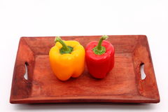 Capsicum. S on the wooden tray Stock Photo