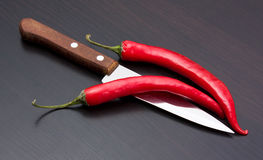 Capsicum and cooking utensils Stock Photo
