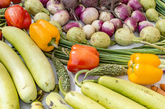 Capsicum and other mix vegetables on sale Stock Photography