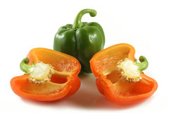 Capsicum pieces. Bell pepper pieces on white background Royalty Free Stock Image