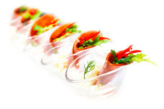 Capsicum and rocket salad wrapped in turkey ham Royalty Free Stock Photography