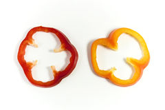 Capsicum slices. Capsicum pepper pieces on white background Stock Photography