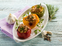Capsicum stuffed. With tofu,vegetarian food royalty free stock photo