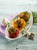 Capsicum stuffed. With tofu,vegetarian food royalty free stock photography