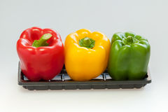 Capsicum or sweet pepper on white background. 3 colors capsicum or sweet pepper in a tray on white background Stock Photos