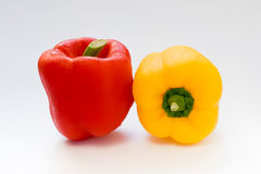 Capsicum or sweet pepper on white background. Red and Yellow capsicum or sweet pepper on white background Stock Photo