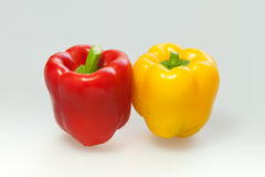 Capsicum or sweet pepper on white background. Red and Yellow capsicum or sweet pepper on white background Stock Photography