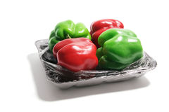 Capsicums with Shrink Wrap Stock Images