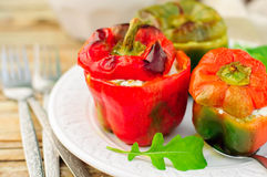 Capsicums Stuffed with Cheese and Herbs Stock Photo