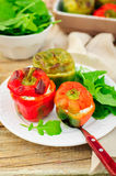 Capsicums Stuffed with Cheese and Herbs Stock Photos