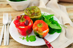 Capsicums Stuffed with Cheese and Herbs Stock Images
