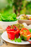 Capsicums Stuffed with Cheese and Herbs Royalty Free Stock Photography