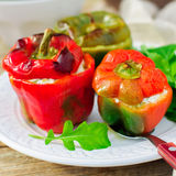 Capsicums Stuffed with Cheese and Herbs Royalty Free Stock Photo