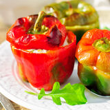 Capsicums Stuffed with Cheese and Herbs Royalty Free Stock Photos
