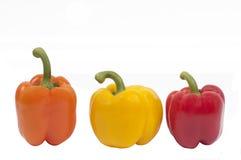 capsicums wykładali pomarańczowej czerwieni widok kolor żółty Fotografia Royalty Free