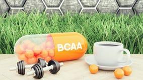 Capsiule del colágeno, dos pesas de gimnasia y una taza de café Nutrición del deporte para el ejemplo del levantamiento de pesas  ilustración del vector