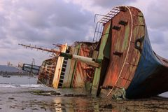 The Capsized Bangkai Kapal FV Viking ship stock image