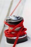 Capstan on the deck of sailing yacht Stock Photos