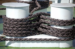 Capstan and rope. Arranged in a figure of eight on a boat Royalty Free Stock Image