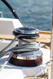 Capstan on a sailboat Stock Image