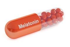 Capsula della melatonina, rappresentazione 3D Immagini Stock Libere da Diritti