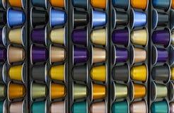 Capsula di alluminio del caffè di colori differenti Fotografia Stock