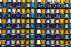 Capsula di alluminio del caffè di colori differenti Immagine Stock Libera da Diritti