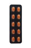 Capsula molle alta chiusa in blister trasparente marrone Fotografie Stock