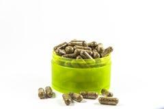 Capsula organica naturale della vitamina dell'erba Immagini Stock Libere da Diritti