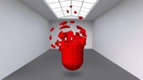 Capsule accrochante de beaucoup de petits polygones dans la grande pièce vide L'espace d'exposition est un objet abstrait, forme  Image libre de droits
