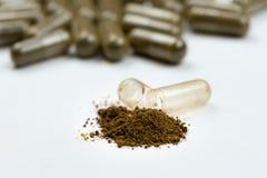 capsule avec la poudre verte image stock