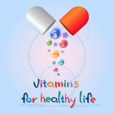 Capsule avec le concept sain d'élément de chimie de nutrition de la vie de bannière colorée nutritive de minerais de vitamines illustration libre de droits