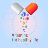 Capsule avec le concept sain d'élément de chimie de nutrition de la vie de bannière colorée nutritive de minerais de vitamines Photos libres de droits