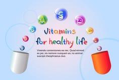 Capsule avec le concept sain d'élément de chimie de nutrition de la vie de bannière colorée nutritive de minerais de vitamines illustration stock