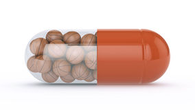 Capsule with basket balls Royalty Free Stock Photo