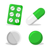 Capsule, blister with pills, pill and soft capsule Royalty Free Stock Photography