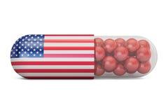Capsule de pilule avec le drapeau des Etats-Unis Concept de soins de santé des USA, rendu 3D Photos libres de droits