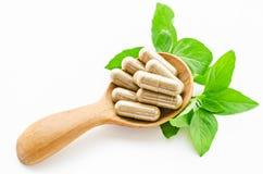 Capsule della medicina di erbe in cucchiaio di legno Fotografia Stock