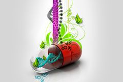 Capsule with dna. In abstract background royalty free illustration