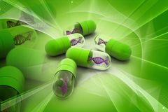 Capsule with dna Royalty Free Stock Images