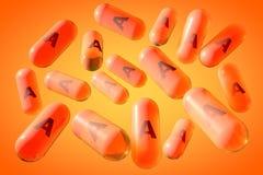 Capsule dorate trasparenti della vitamina A Compresse del retinolo Vitamina e complesso minerale Priorità bassa medica illustrazi illustrazione vettoriale