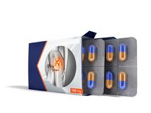 Pills in the package open two plates with capsules from pain joints blue 3d render on white background. Capsule is a dosage unit consisting of a hard or soft Stock Image